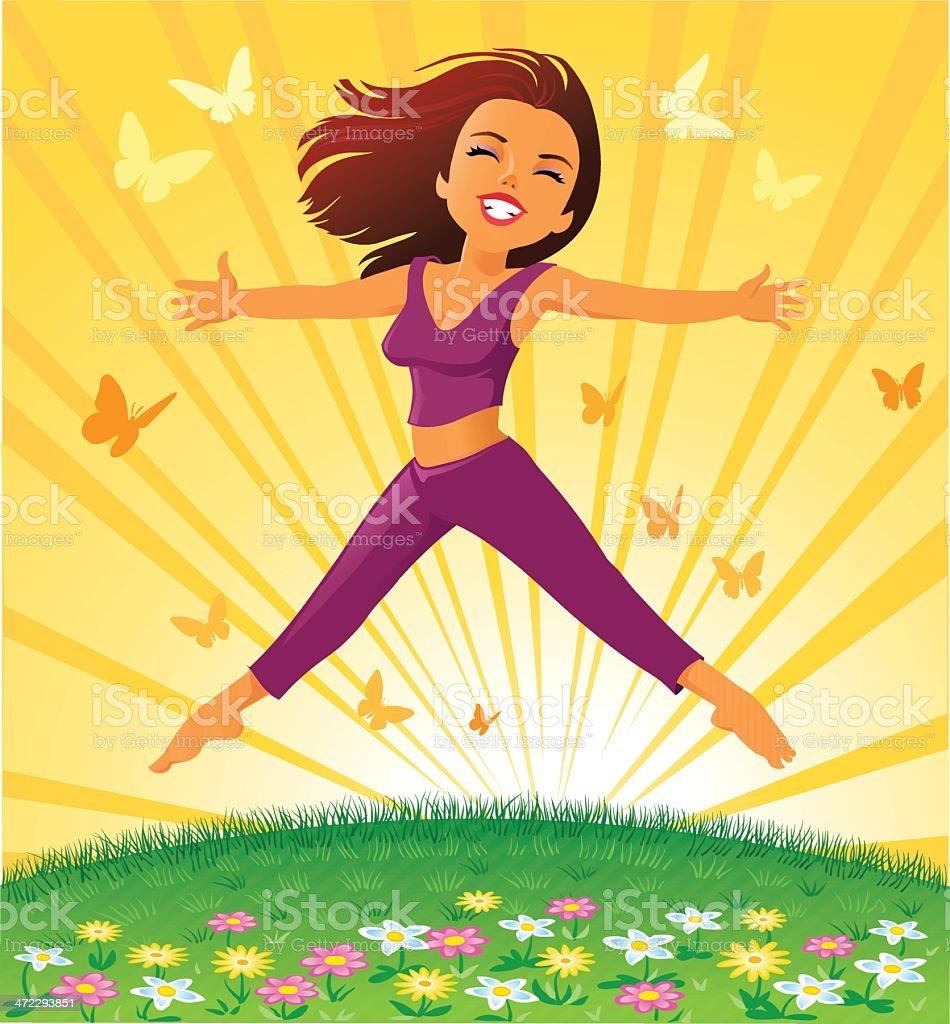 Young Happy Woman Jumping - Day Dreaming vector art illustration