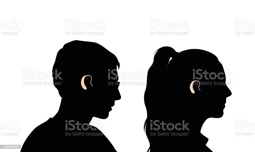 Young Hearing Problems vector art illustration