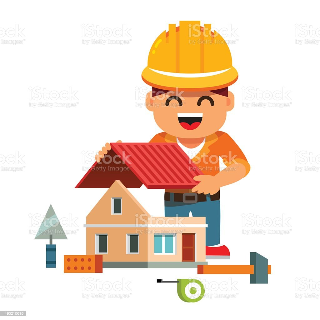 Young house builder in hardhat building home vector art illustration