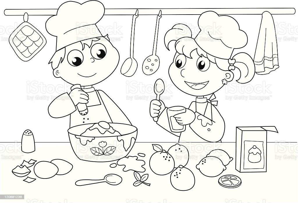 Kitchen Drawing For Kids young kids cooking stock vector art 120881236 | istock