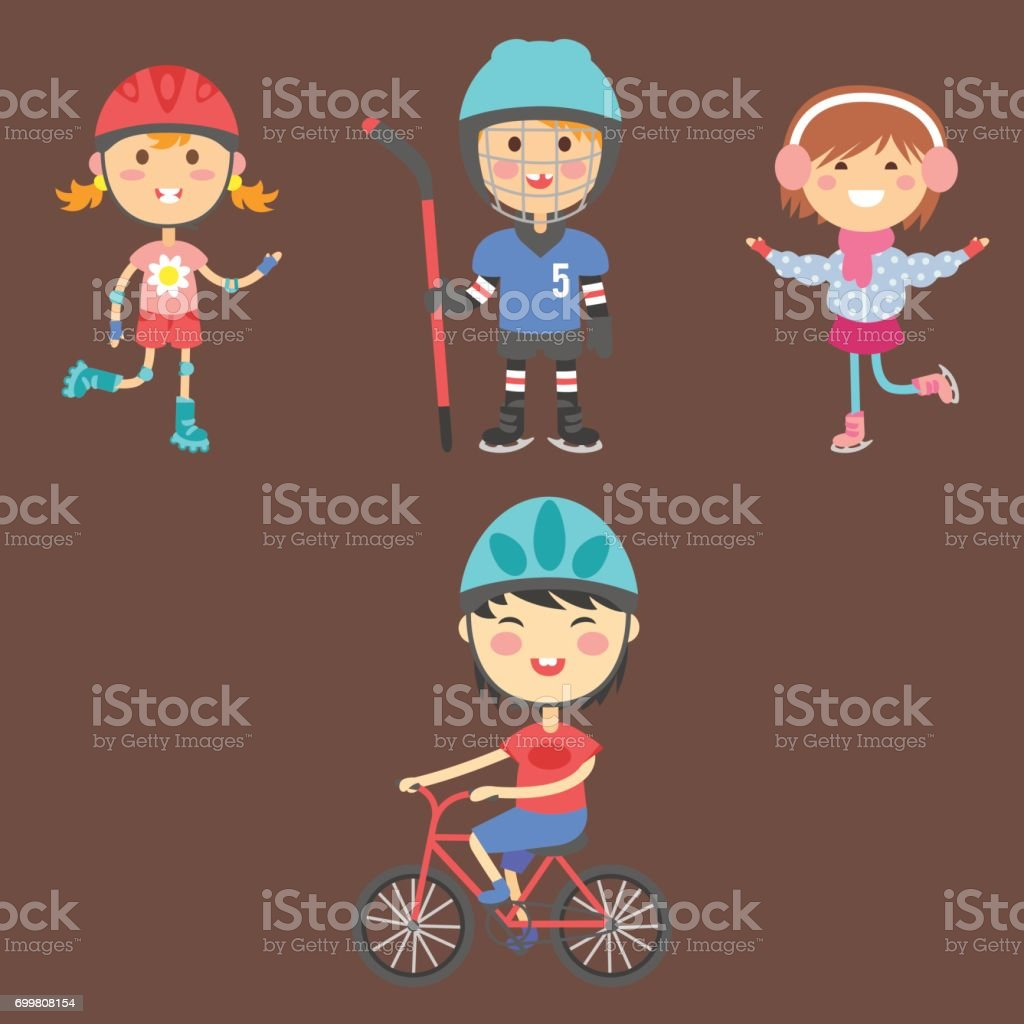 Young kids sportsmens future roller skates gymnastics children sport players vector illustration vector art illustration