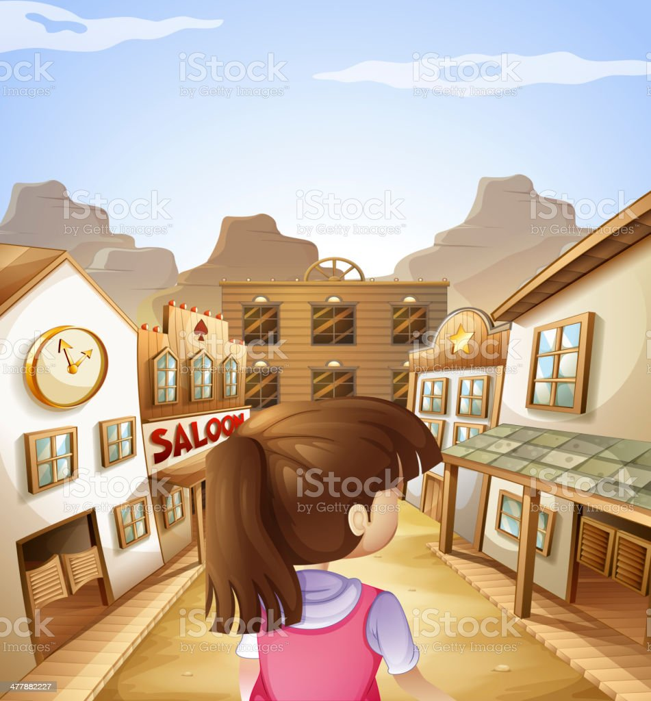 young lady going to the saloon bar vector art illustration