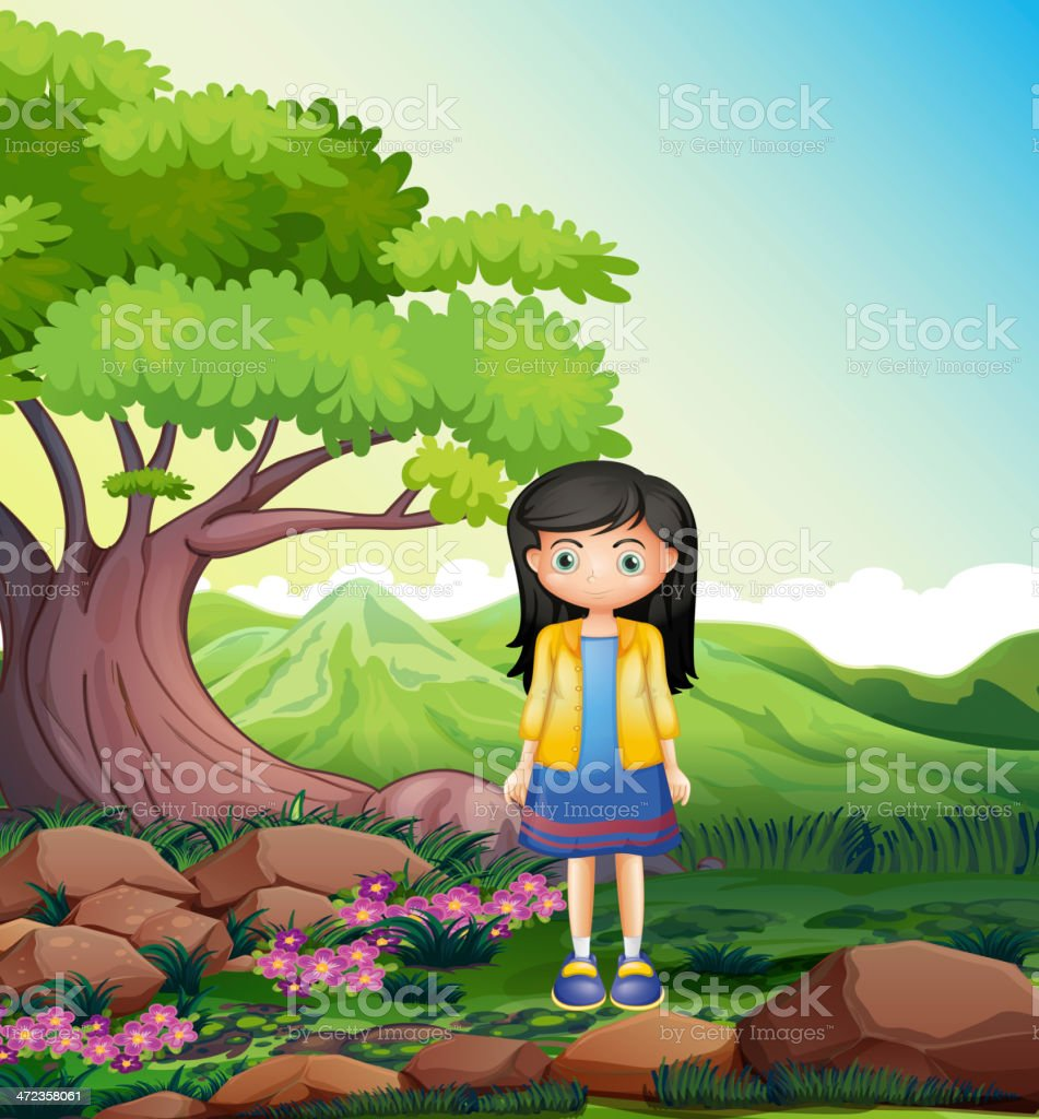 Young lady in the forest royalty-free stock vector art