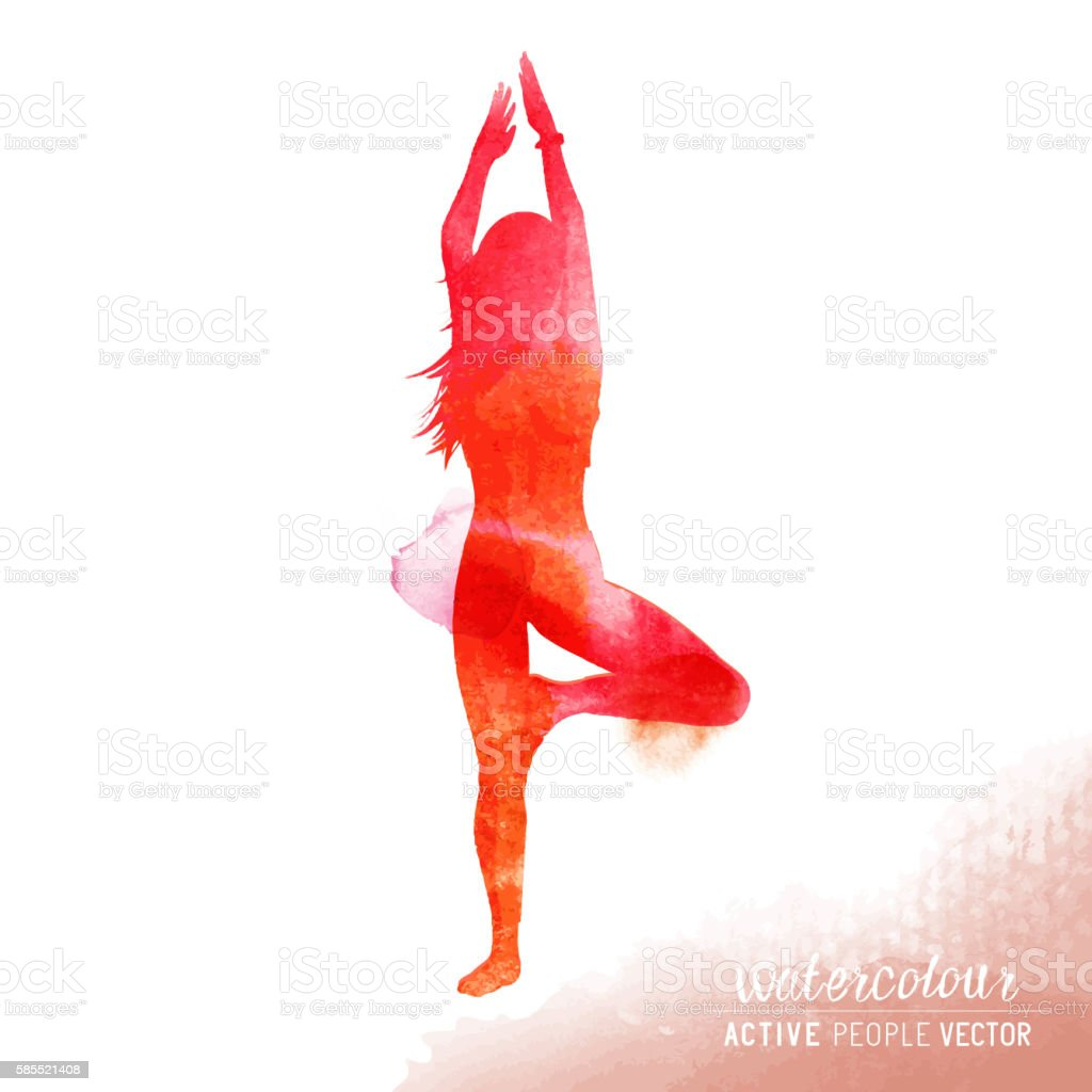Young Lady in Yoga Class vector art illustration
