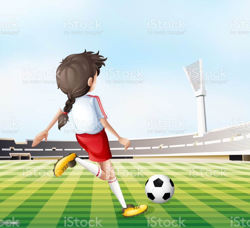 Young lady playing football royalty-free stock vector art