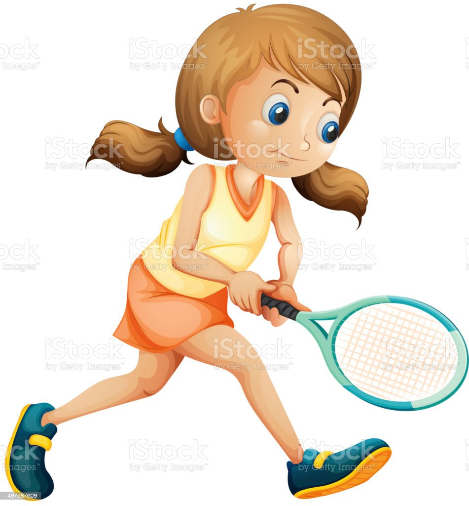 Young lady playing tennis vector art illustration