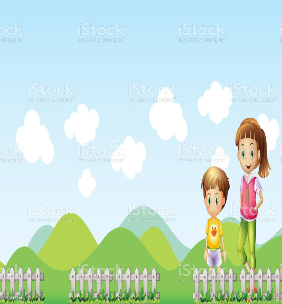 Young lady with a boy royalty-free stock vector art