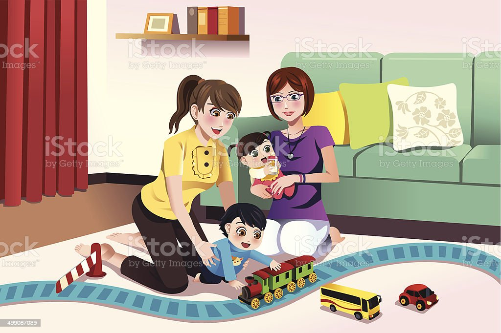 Young lesbian parents playing with their kids vector art illustration