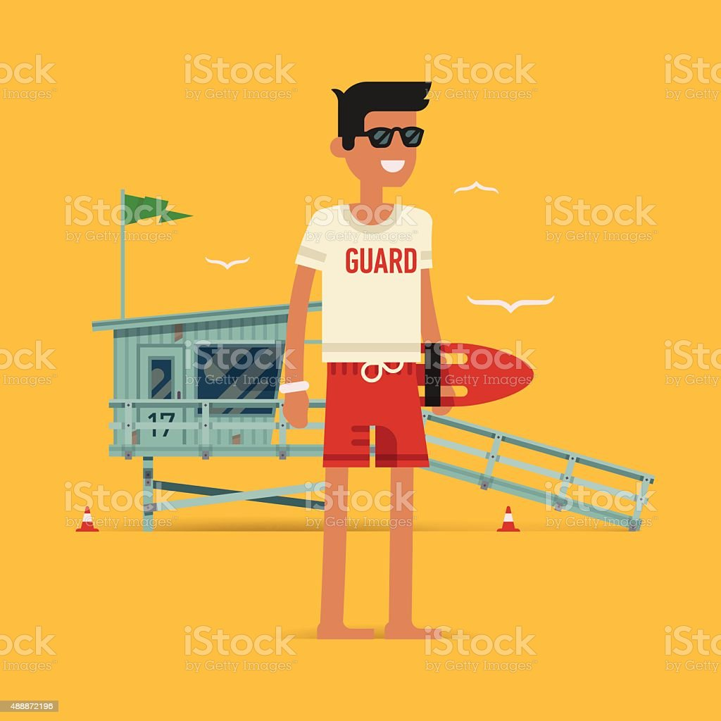 Young male lifeguard standing full length illustration vector art illustration