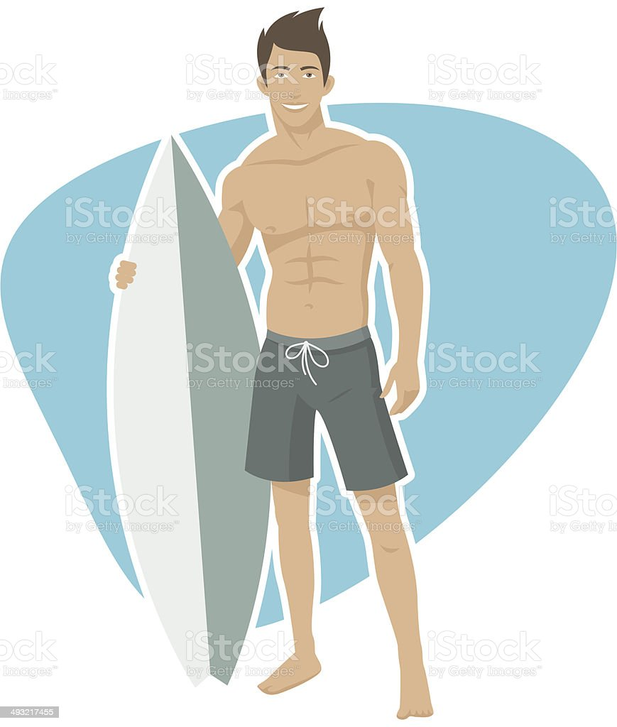 Young male surfer holding a surfboard vector art illustration