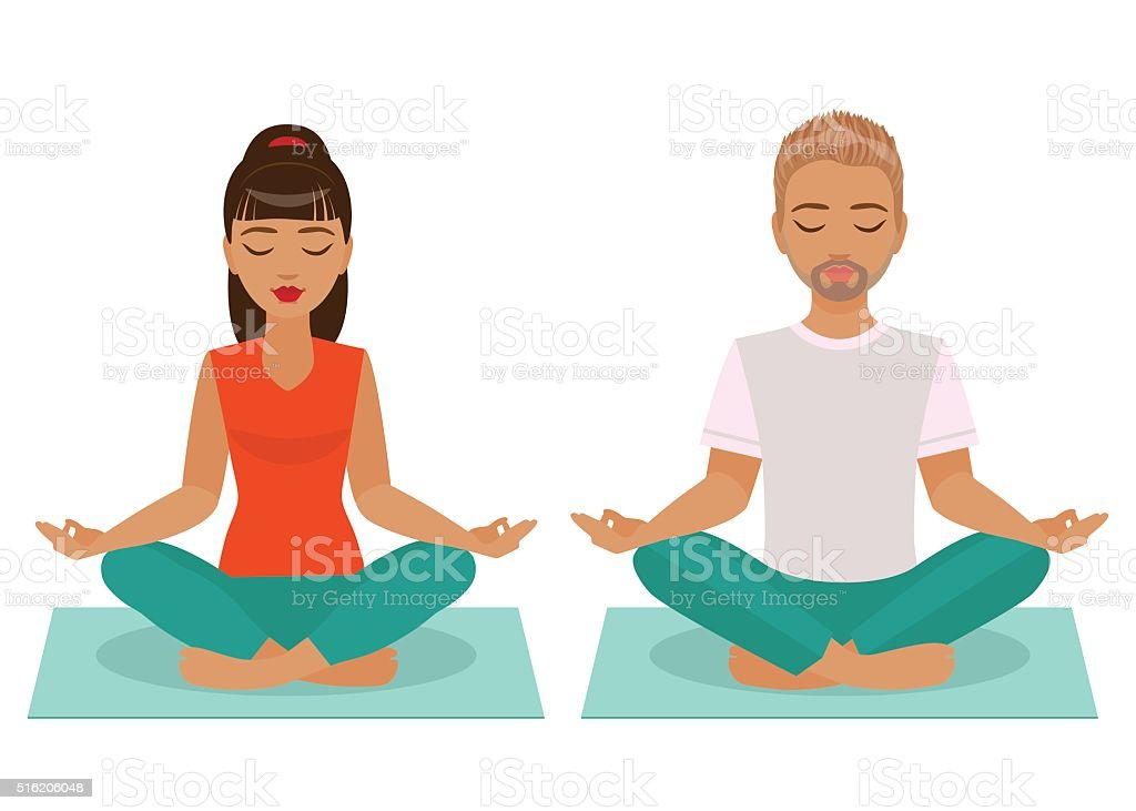 Young Man and Woman Doing Yoga vector art illustration