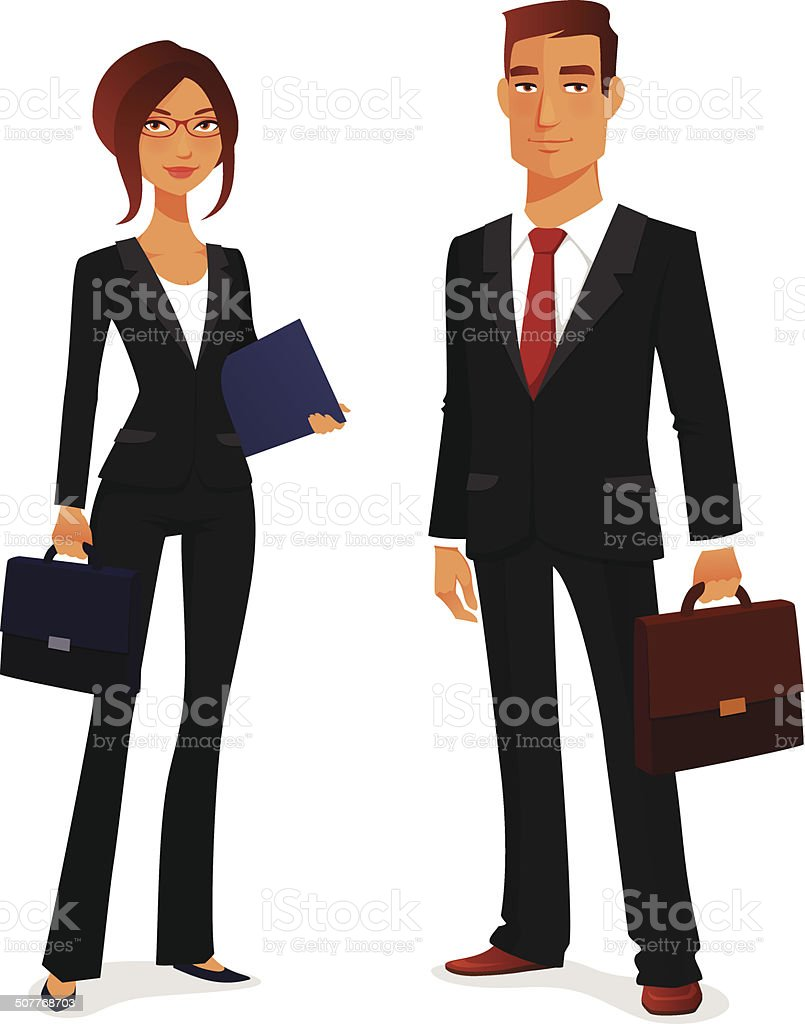 young man and woman in elegant business suit vector art illustration