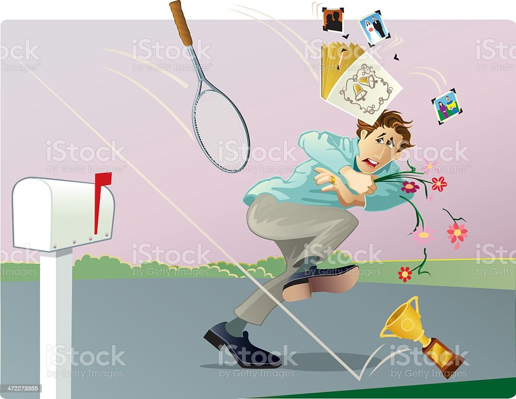 Young Man Carrying Flowers Being Hit with Items royalty-free stock vector art