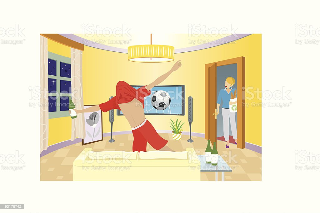 Young man celebrating in front of television royalty-free stock vector art