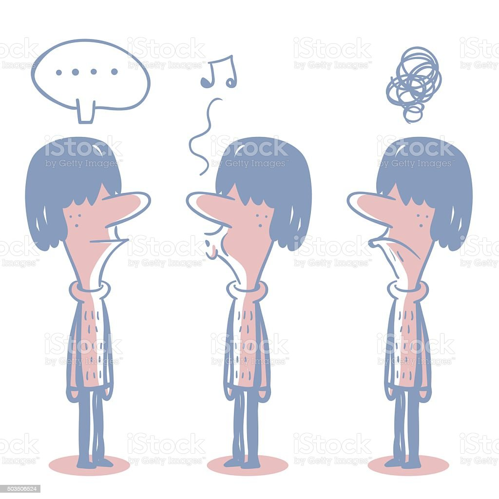 Young Man (Otaku, Student) Doodle Emotion, Talking, whistling, Angry, Confuse vector art illustration