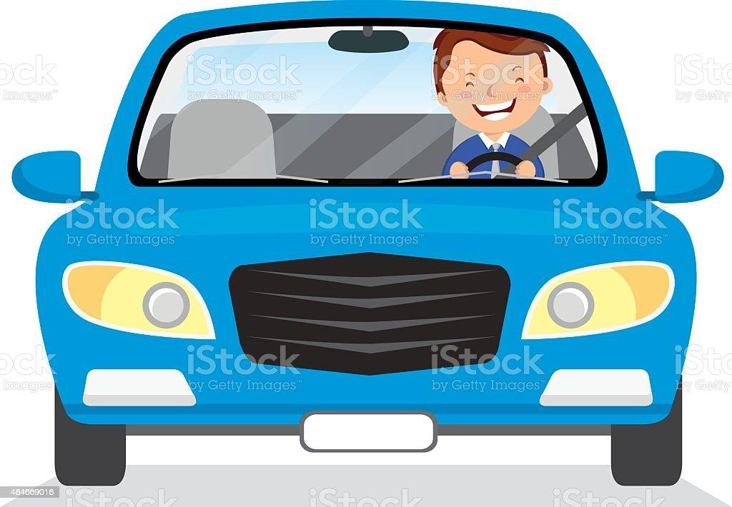 Young man driving blue car vector art illustration