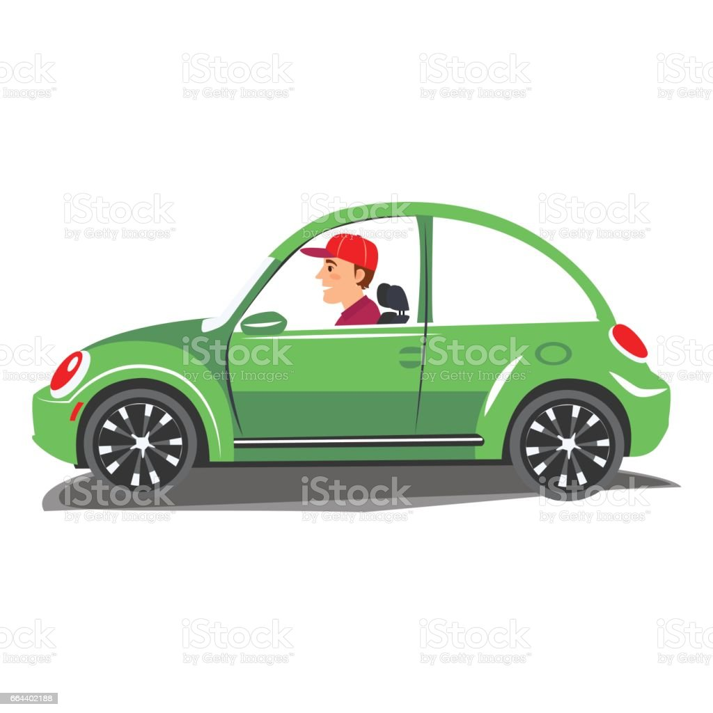 Young man driving green car. Vector illustration of a cheerful man driving on isolated background vector art illustration