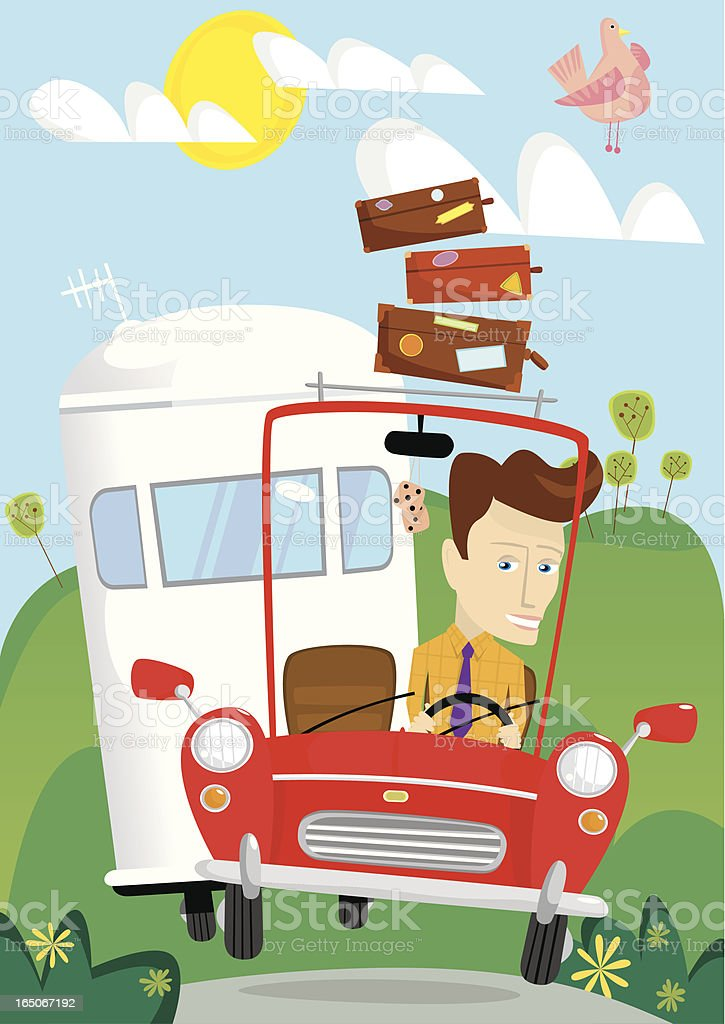Young man driving on vacation with caravan royalty-free stock vector art