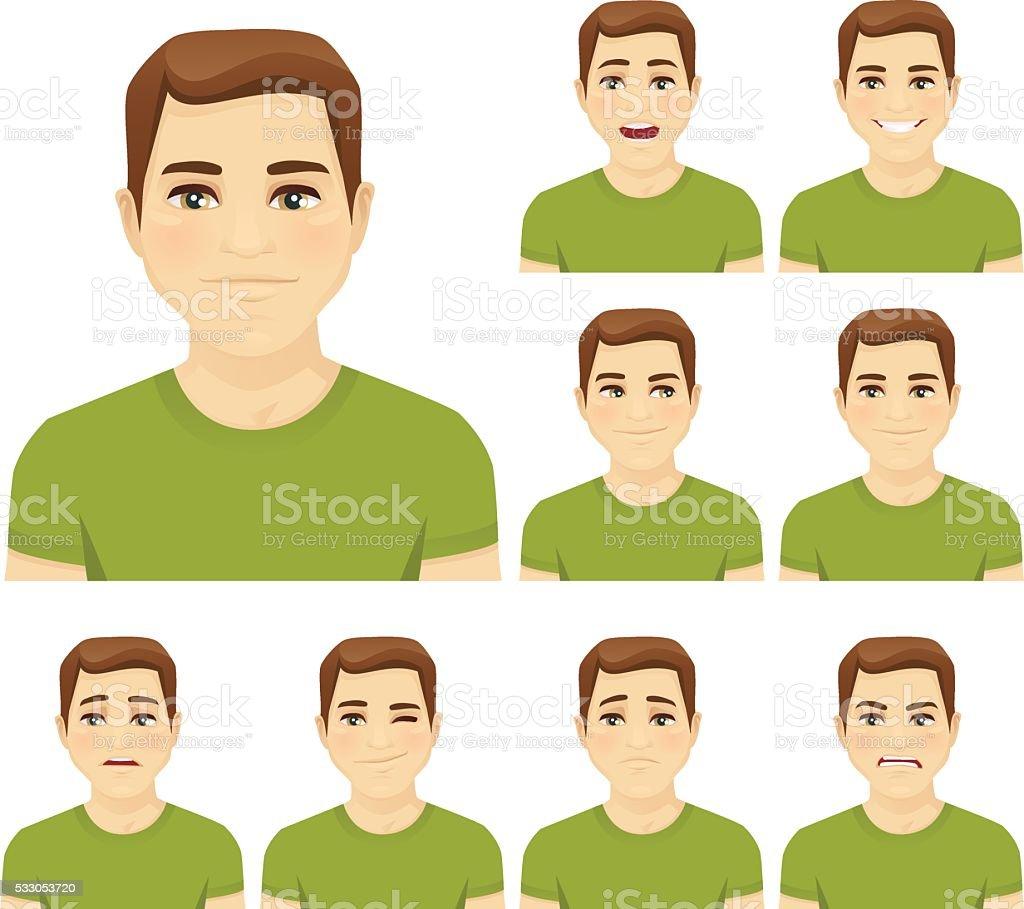 Young man expression set vector art illustration