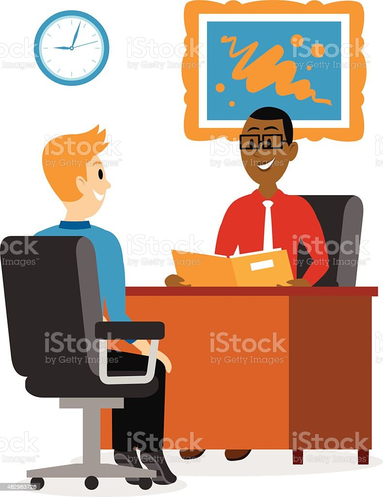 Young Man Getting A Job Interview Clipart vector art illustration