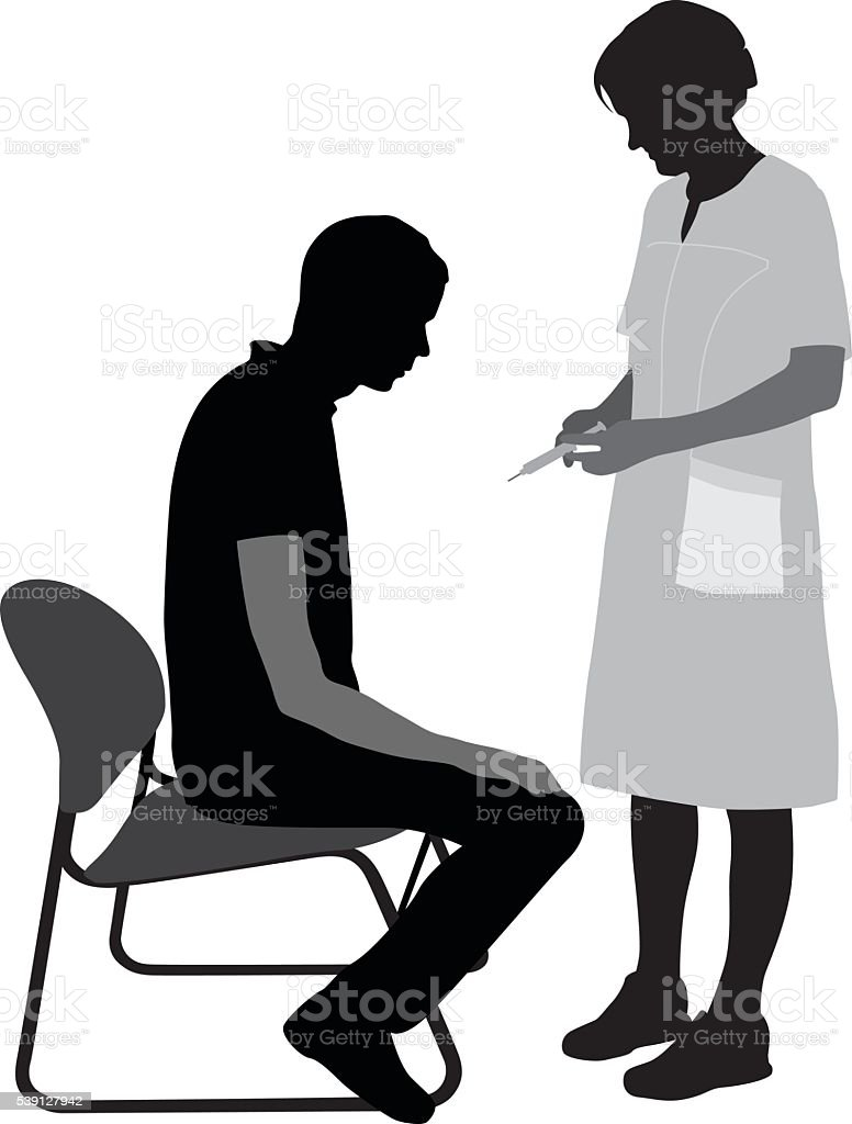 Young Man Getting A Vaccine vector art illustration
