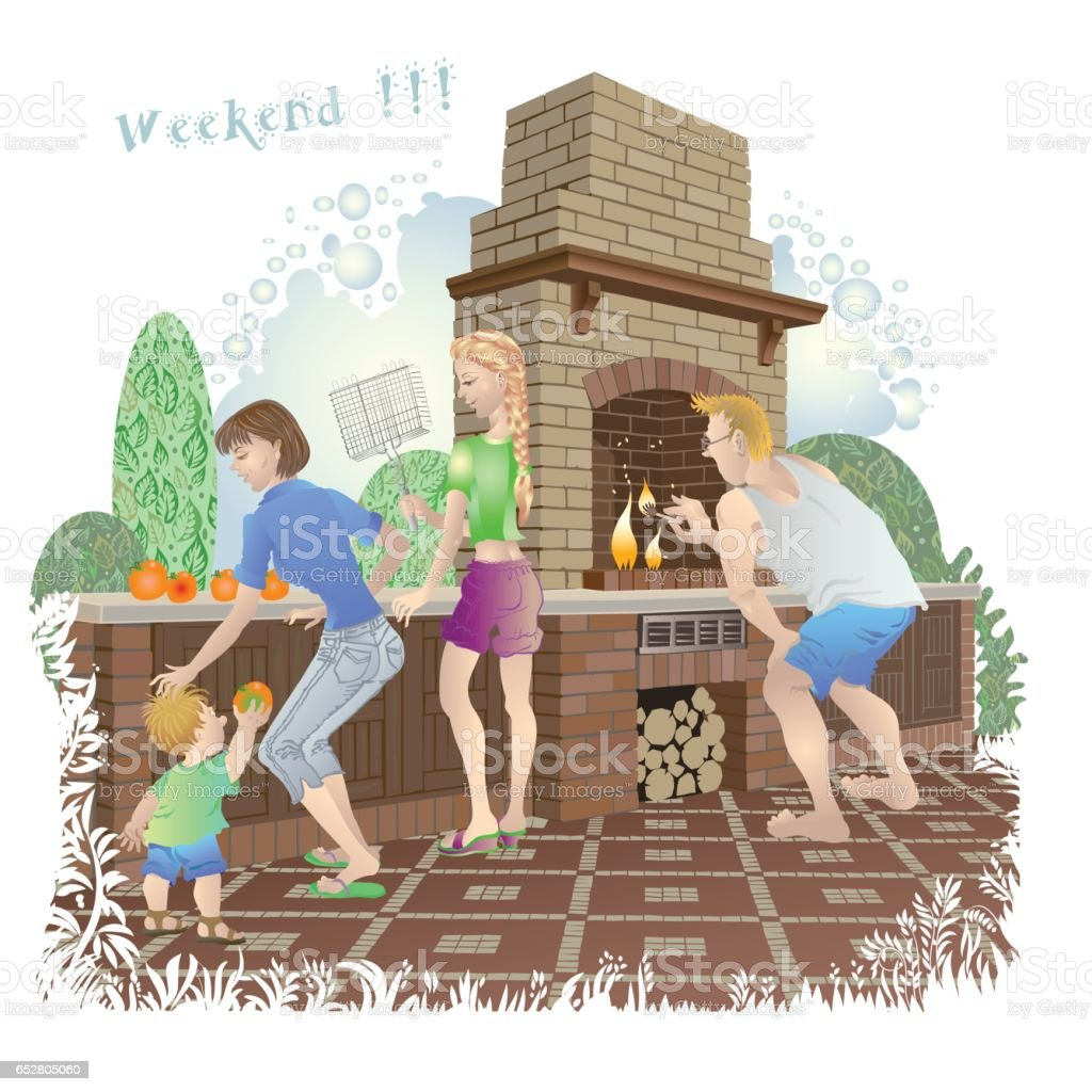 Young man, girl and lady with baby on family  weekend in the backyard garden near barbeque vector art illustration