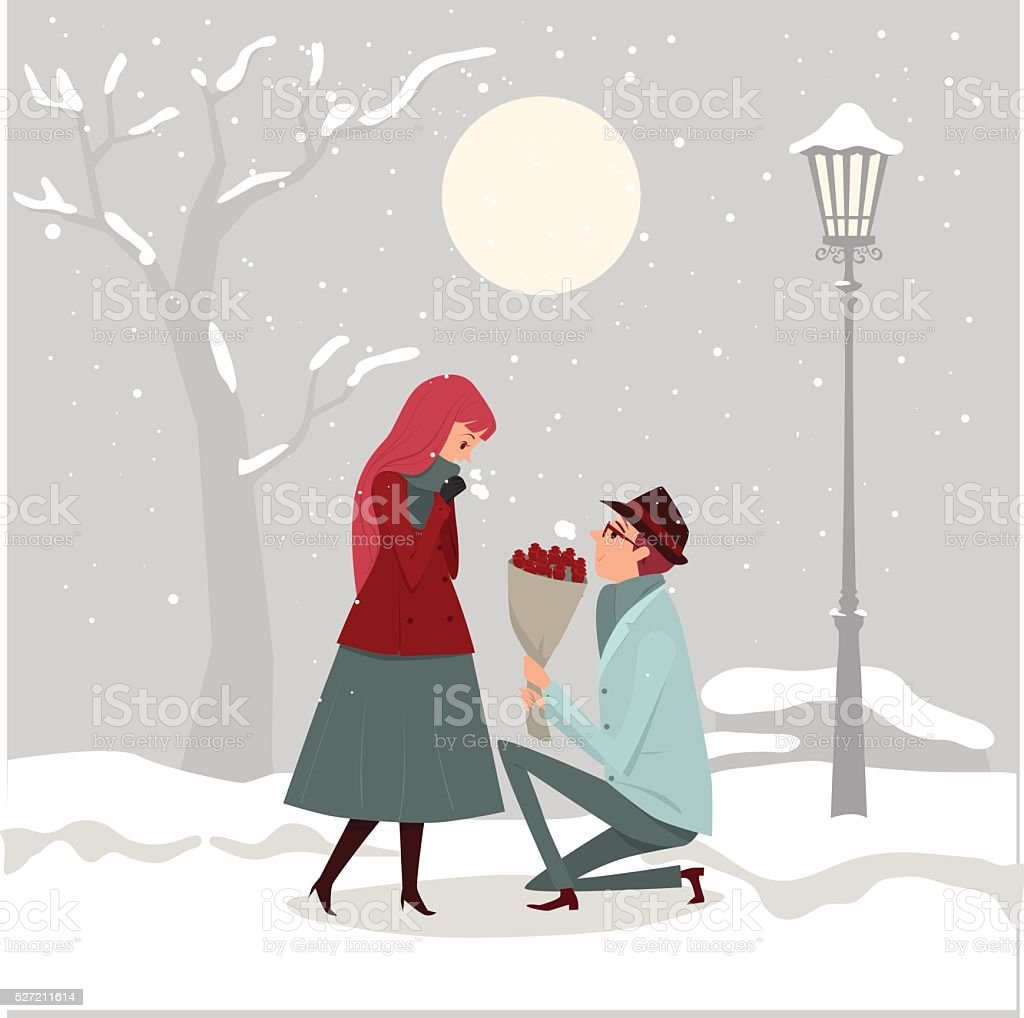 Young man giving flowers to his lover. vector art illustration