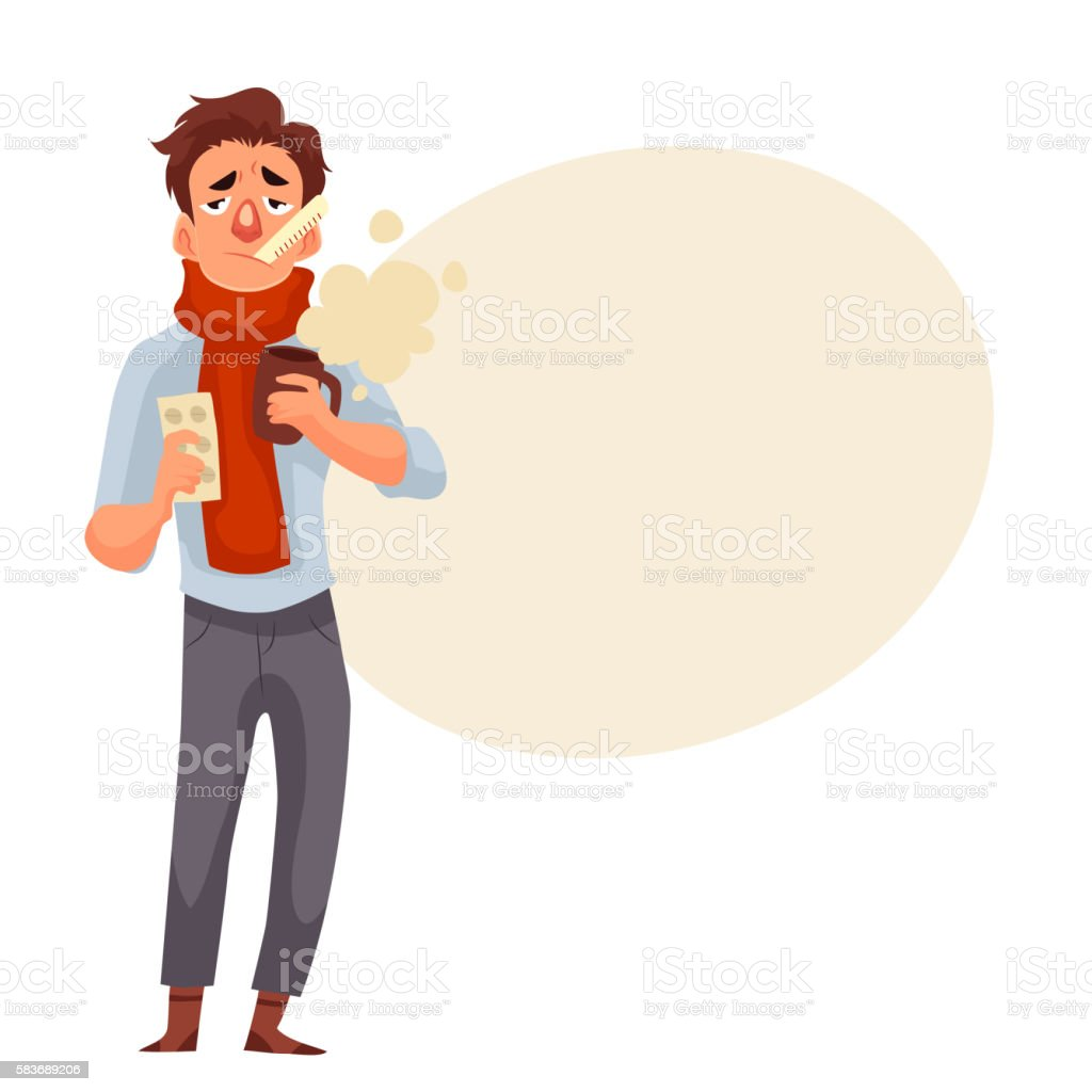 Young man having flu, holding medicines and a cup vector art illustration
