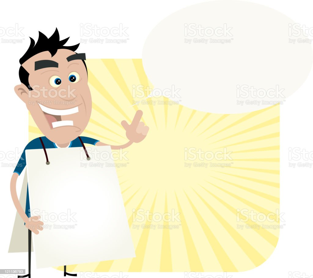 Young Man Holding A Sandwich Board royalty-free stock vector art
