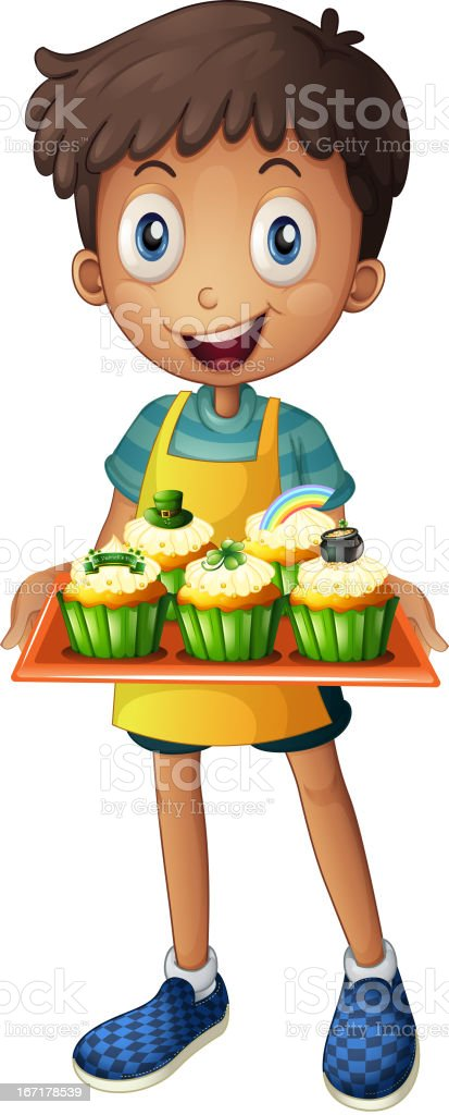 Young man holding a tray with cupcakes royalty-free stock vector art