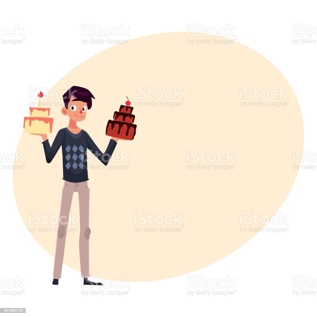 Young Man Holding Birthday Cakes Getting Ready For Party stock