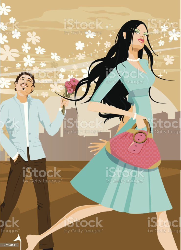 Young Man Holding Flowers Out for Woman Walking By royalty-free stock vector art
