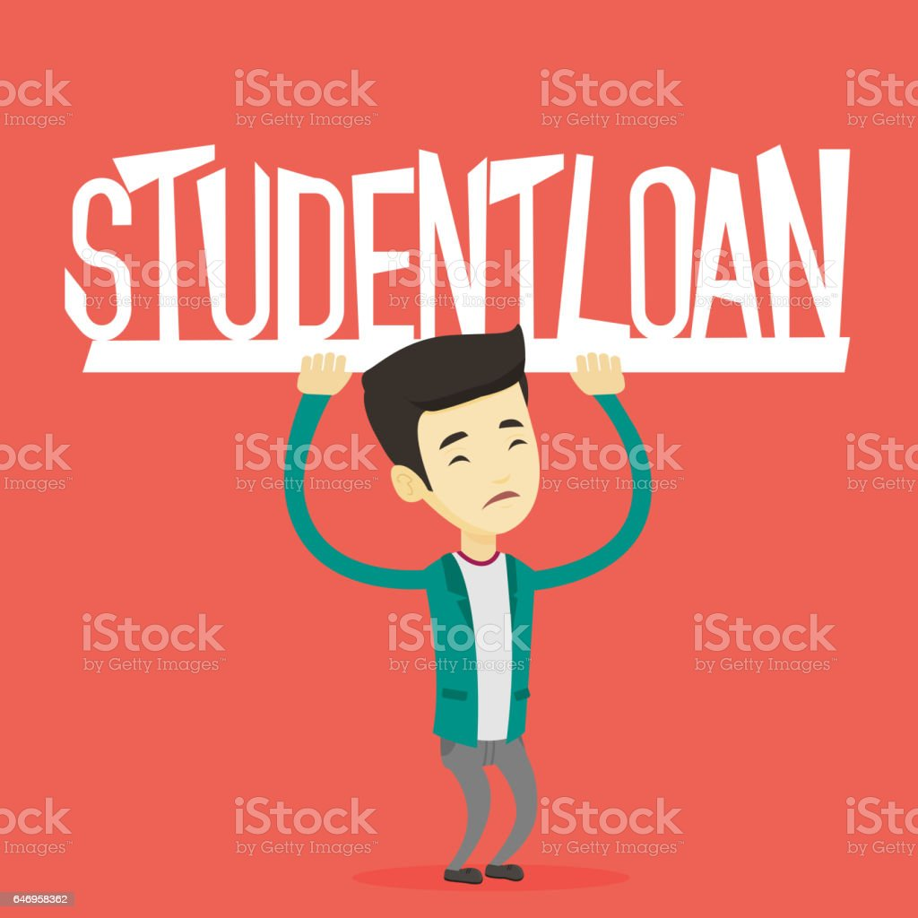 Young man holding sign of student loan vector art illustration