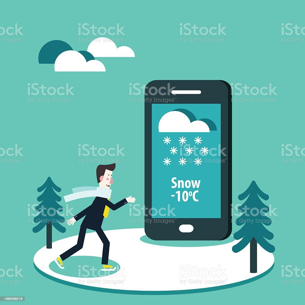 Young man ice-skating. Weather Forecast map with snow on mobile vector art illustration