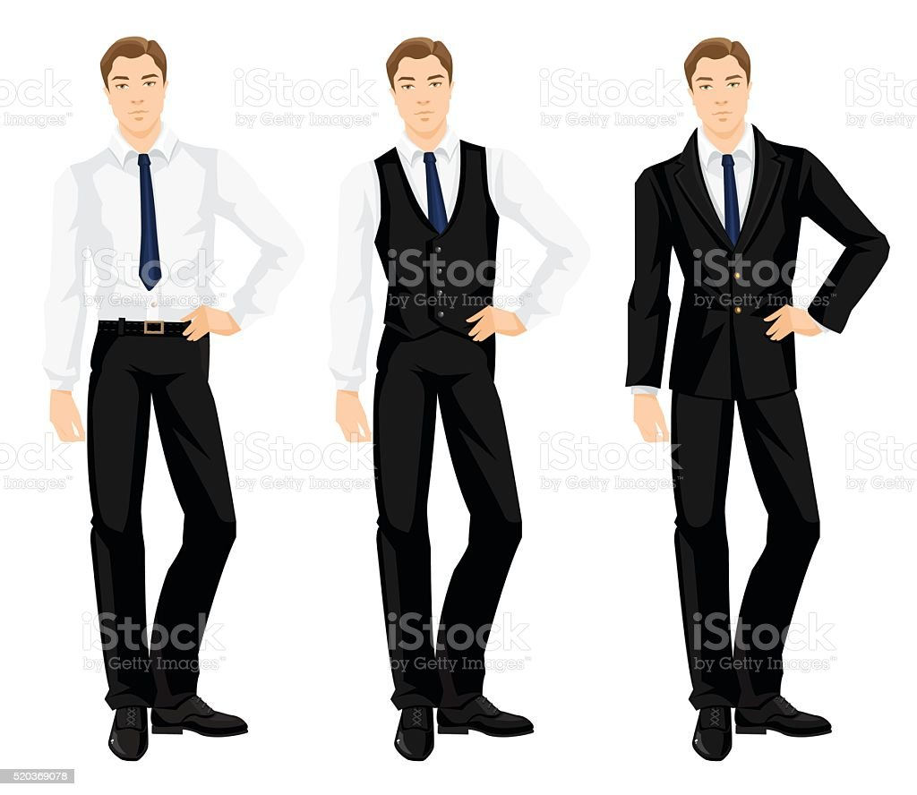 Young man in formal clothes vector art illustration