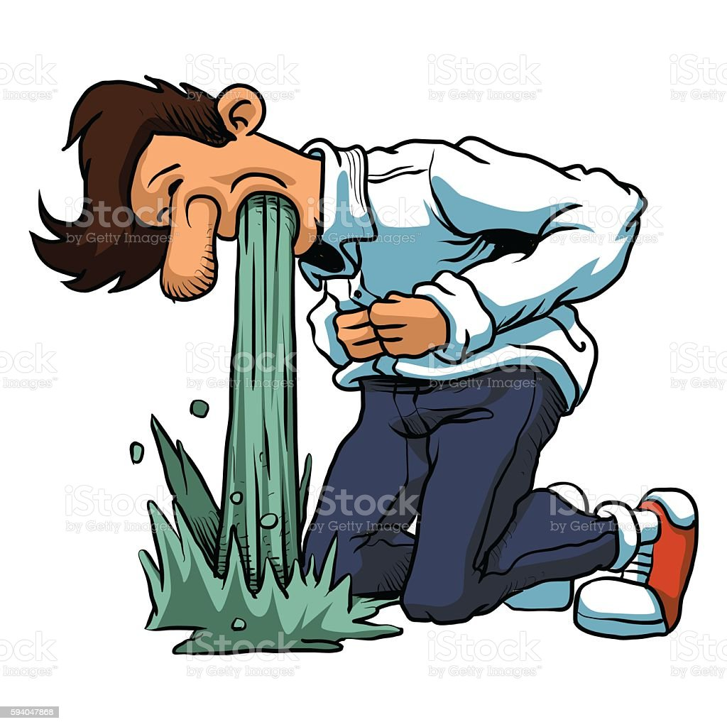 Young man in pain vomiting. vector art illustration