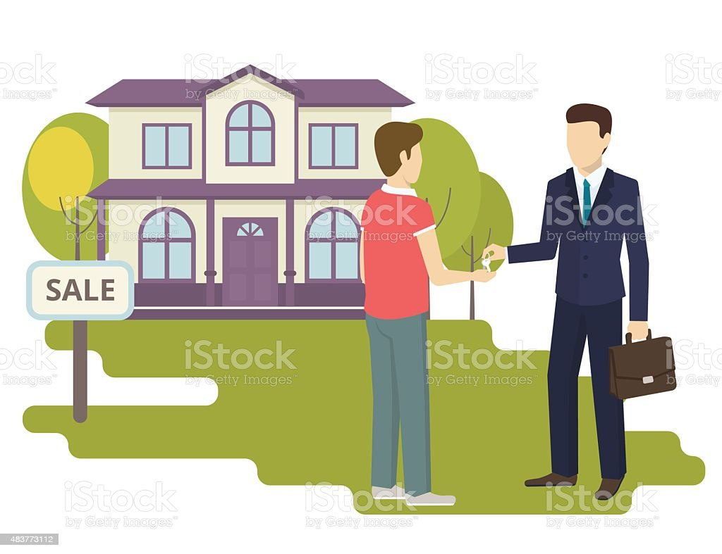 Young man is buying a new house vector art illustration