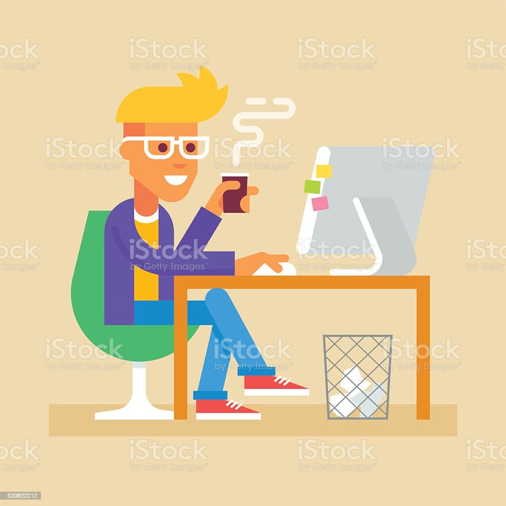 Young man is sitting  at desk with computer Vector vector art illustration