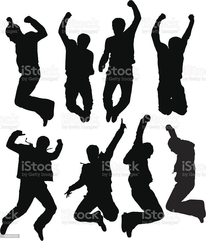Young man jumping vector art illustration
