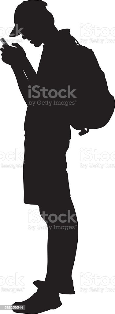 Young Man Looking At His Smart Phone vector art illustration
