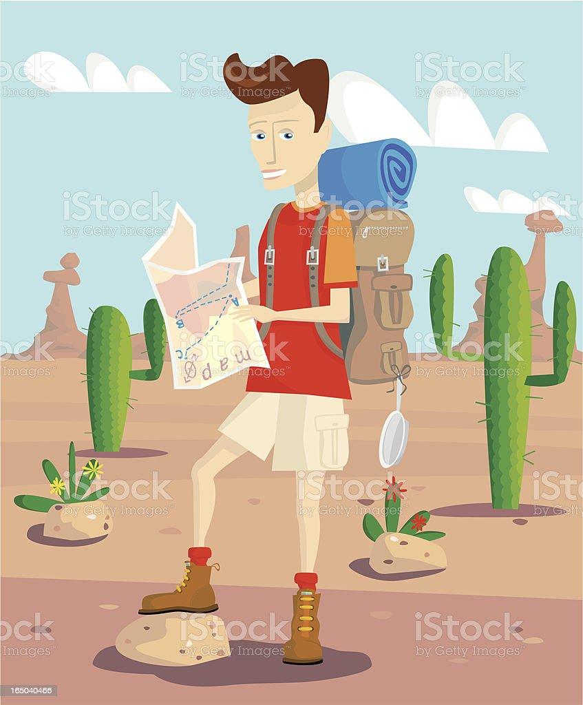 Young man on camping holiday vacation vector art illustration