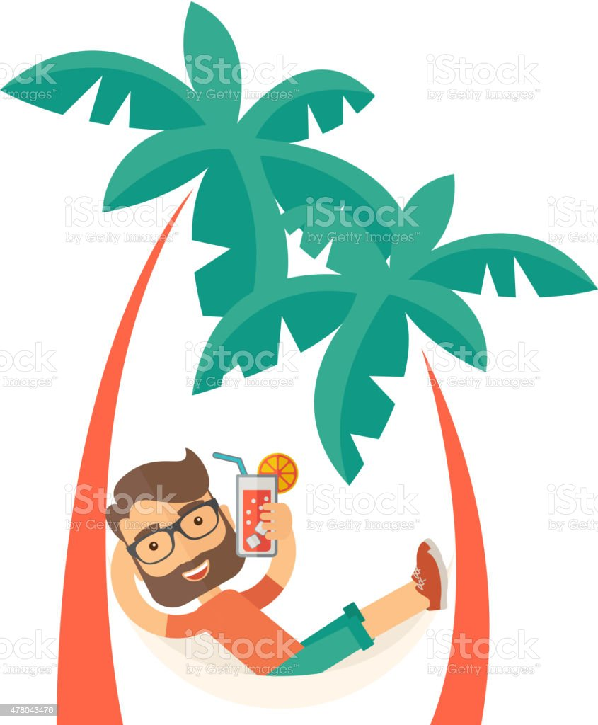 Young man on th beach relaxing and drinking cocktail vector art illustration
