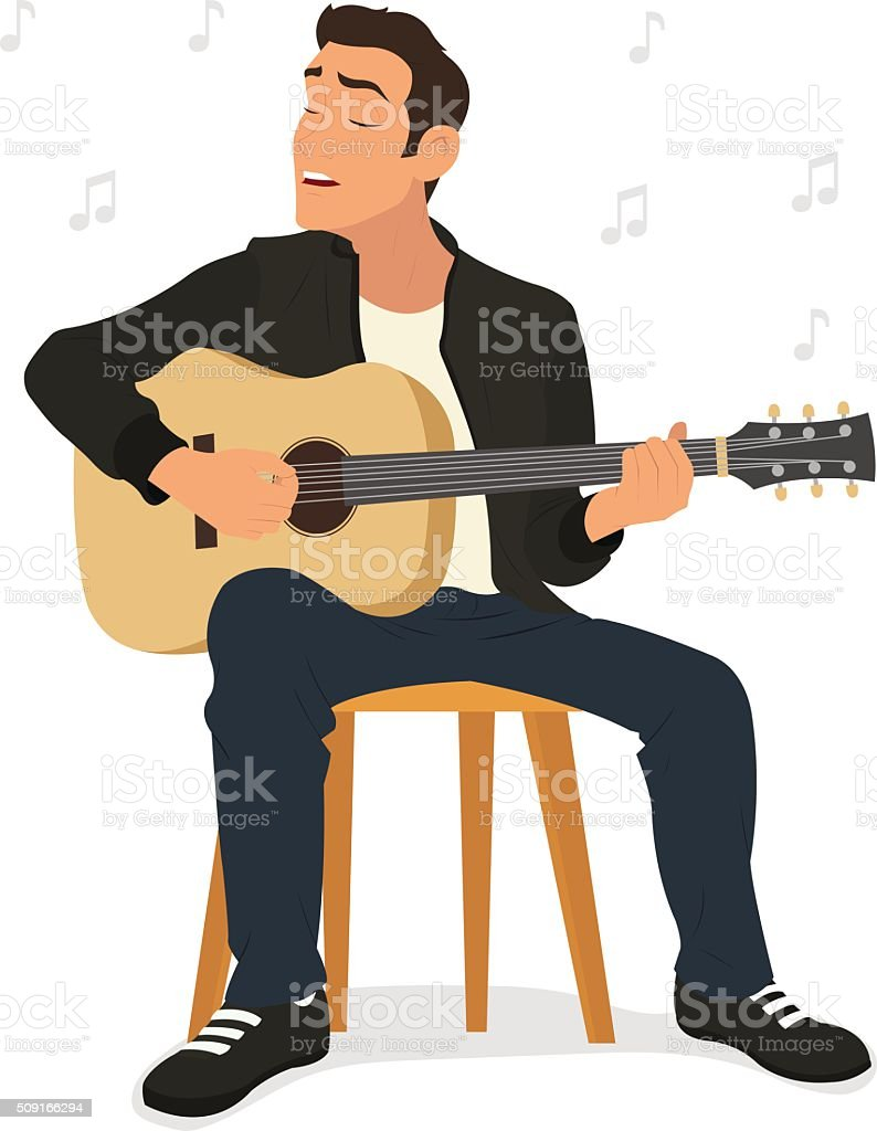 young man playing guitar and sings a song. vector illustration. vector art illustration