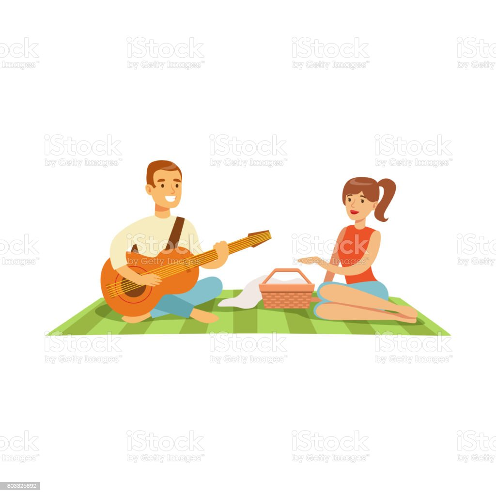 Young man playing guitar to his girl on a picnic, happy couple in love sitting on a picnic plaid vector Illustration vector art illustration
