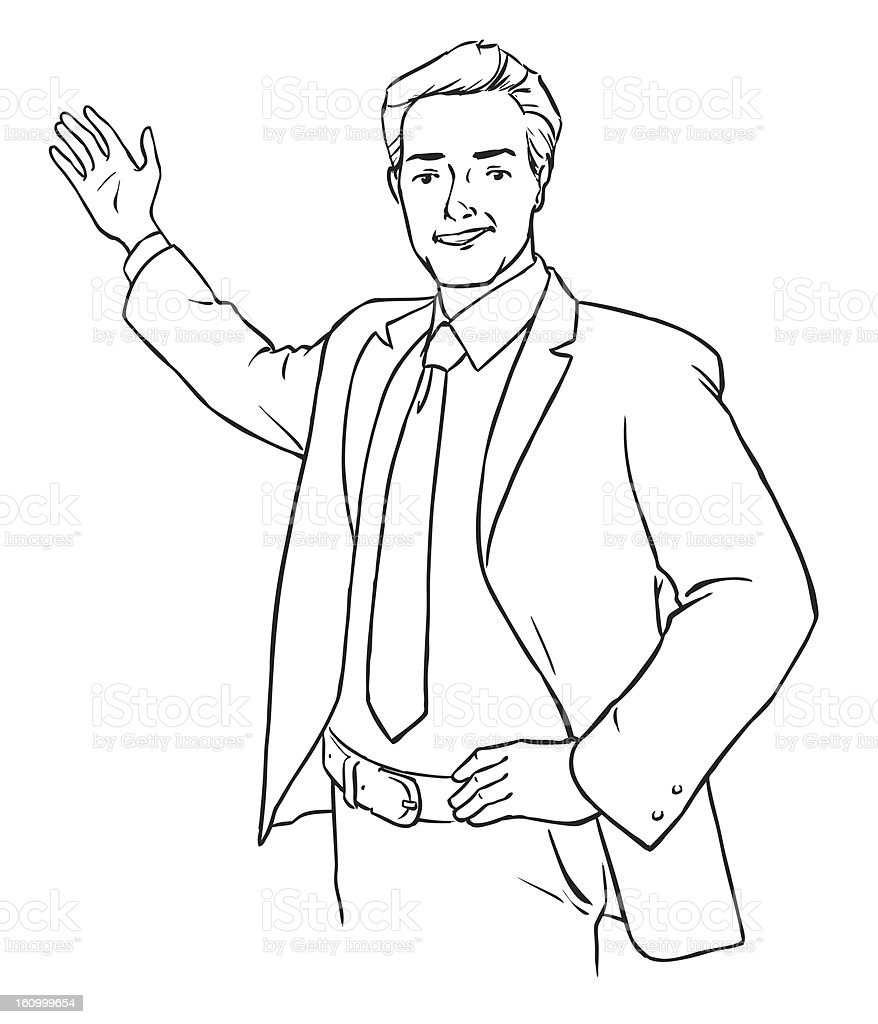 Young Man Pointing At Something royalty-free stock vector art