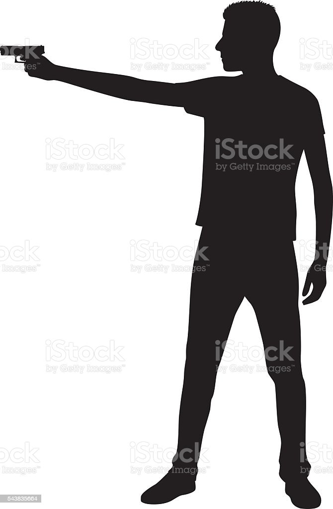 Young Man Pointing Gun Silhouette vector art illustration