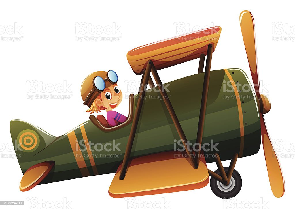 Young man riding on a vintage plane vector art illustration