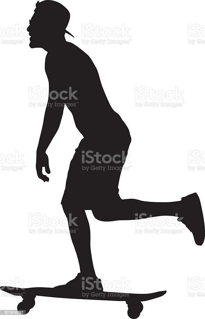 Young Man Riding Skateboard vector art illustration
