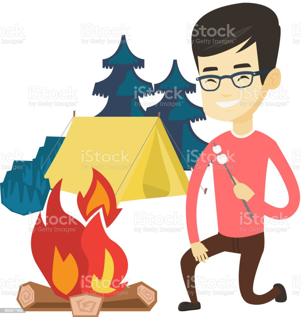 Young man roasting marshmallow over campfire vector art illustration