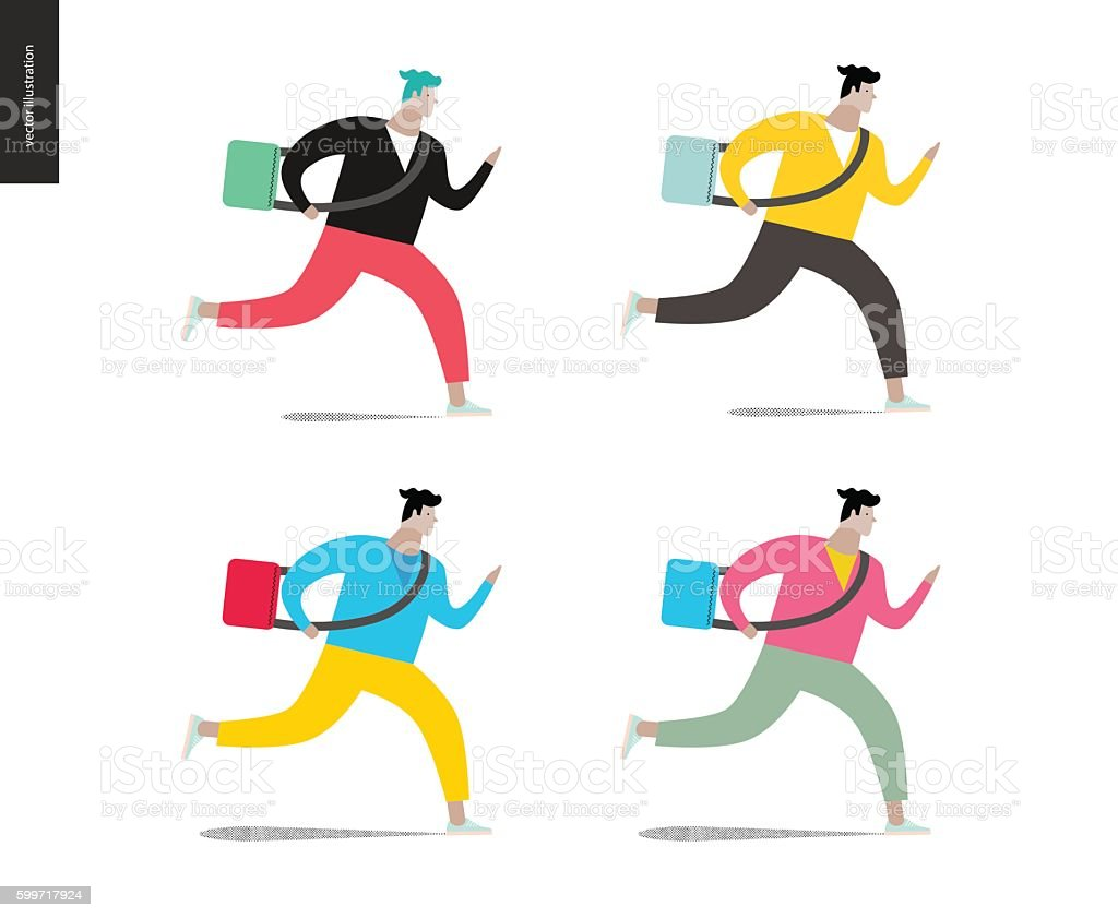 Young man running with a bag in four colors vector art illustration